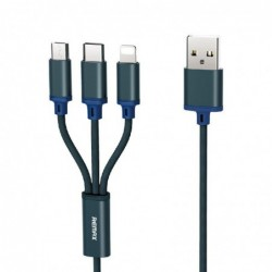 USB kabelis Remax Gition 3in1 lightning+micro+type-C (2.8A) melynas 1.15M