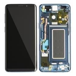 Ekranas Samsung G960F S9 su lietimui jautriu stikliuku ir remeliu melynas (Coral Blue) originalus (used Grade A)