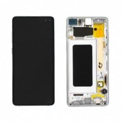 Ekranas Samsung G975F S10 Plus su lietimui jautriu stikliuku ir remeliu baltas (Prism White) originalus (used Grade A)