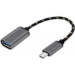 Adapteris iš MicroUSB į USB (OTG) su laidu aliuminis