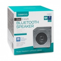 Bluetooth nesiojamas garsiakalbis OMEGA WOODEN OG60A (MicroSD, laisvu ranku iranga, AUX,FM) pilkas