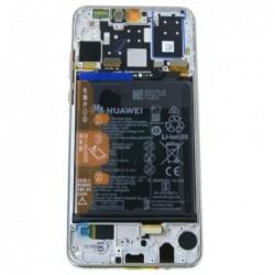 Ekranas Huawei P30 Lite su lietimui jautriu stikliuku ir remeliu baltas originalus (used Grade B)