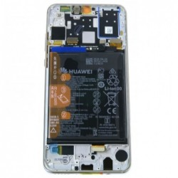 Ekranas Huawei P30 Lite su lietimui jautriu stikliuku ir remeliu baltas originalus (used Grade C)