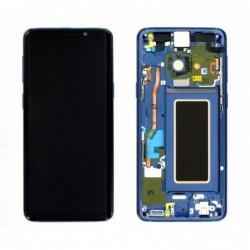 Ekranas Samsung G960F S9 su lietimui jautriu stikliuku ir remeliu melynas (Coral Blue) originalus (u
