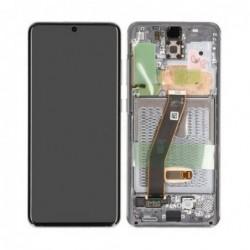 Ekranas Samsung G981F/G980F S20 su lietimui jautriu stikliuku ir remeliu pilkas (Cosmic Grey) origin
