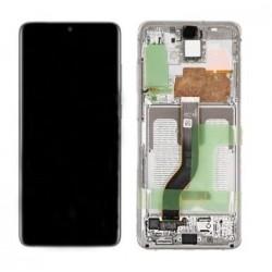Ekranas Samsung G985F/G986F S20 Plus su lietimui jautriu stikliuku ir remeliu baltas (Cloud White) o