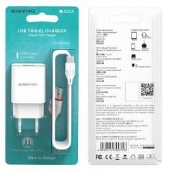 Ikroviklis BOROFONE BA20A Sharp USB + lightning kabelis (5V 2.1A) baltas