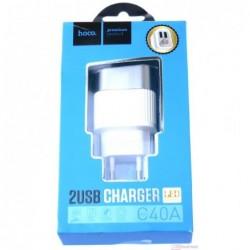 Ikroviklis FastCharge HOCO C40A Speedmaster Dual USB (5V 2.4A) baltas