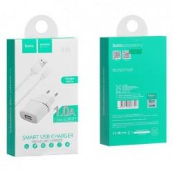 Ikroviklis HOCO C11 Smart USB + microUSB kabelis (5V 1A) baltas