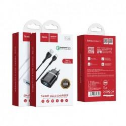 Ikroviklis HOCO C12Q Smart USB + type-C kabelis (QC3.0) juodas