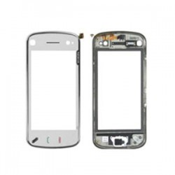 Lietimui jautrus stikliukas Nokia N97 mini su remeliu baltas