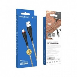 USB kabelis BOROFONE BX25 Powerful microUSB juodas 1m