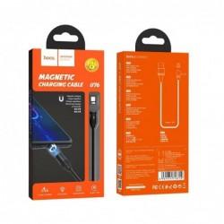 USB kabelis HOCO U76 Fresh magnetic microUSB 1m juodas