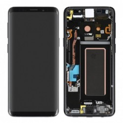 Ekranas Samsung G960F S9 su lietimui jautriu stikliuku ir remeliu juodas (Midnight Black) originalus (used Grade C)