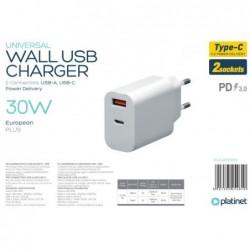 Ikroviklis Platinet QuickCharge Type-C+USB 2.4A (30W) baltas