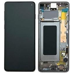 Ekranas Samsung G973F S10 su lietimui jautriu stikliuku ir remeliu juodas originalus (used Grade A)