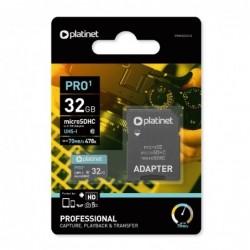 Atminties korta Platinet MicroSD 32GB (class10 UHS-I 70MB/S) + SD Adapteris