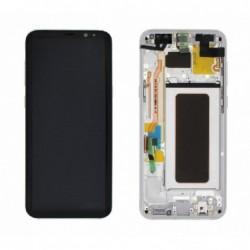 Ekranas Samsung G955F S8 Plus su lietimui jautriu stikliuku ir remeliu sidabrinis originalus (used Grade A)