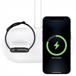 Laikiklis-stovas SPIGEN MAG FIT DUO Apple MagSafe/Apple Watch baltas