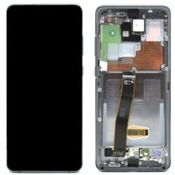 Ekranas Samsung G988 S20 Ultra su lietimui jautriu stikliuku ir remeliu pilkas (Cosmic Grey) originalus (service pack)