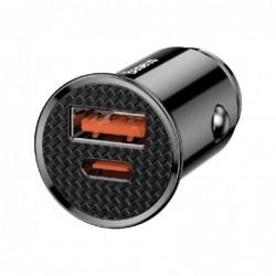 Ikroviklis automobilinis Baseus CCALL-YS01 (QC4.0 USB QC3.0 USB-C) juodas