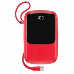 Isorine baterija POWER BANK Baseus Q pow 10000mAh (2xUSB 1xType-C 3A 15W) su type-C laidu raudona